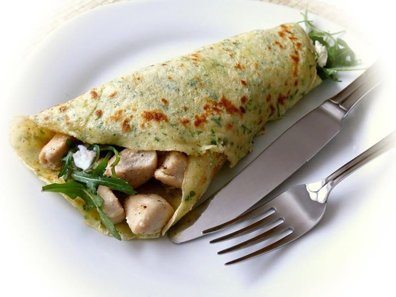 チキンと野菜のクレープ