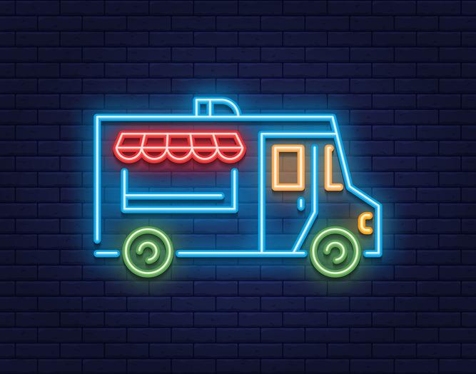 Neon Food Truck Icon Logo