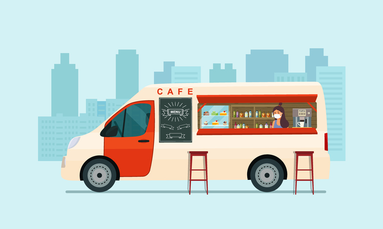 Foodtrack van with a seller in a medical mask isolated. Cafe on wheels. Vector illustration.